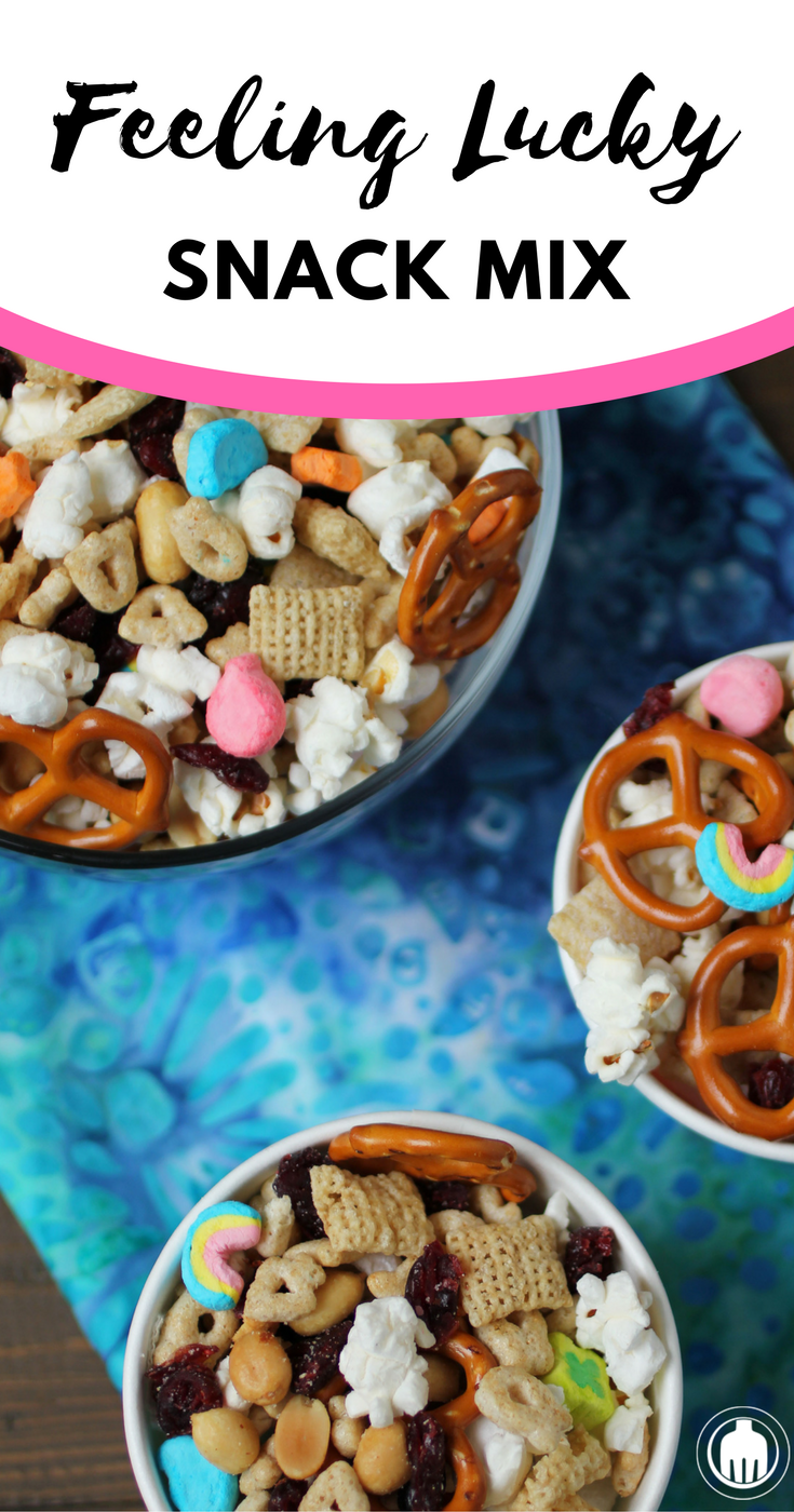 Try a different spin on the traditional snack mix with our no bake Feeling Lucky Snack Mix with Lucky Charms cereal, Vanilla Chex, Dried Cranberries, Popcorn, Peanuts and Pretzels.
