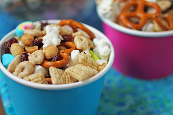 Snack mix in a cup with kid favorites
