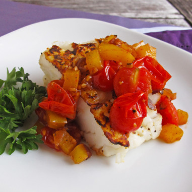 Pan Seared Halibut with Red Pepper Salsa