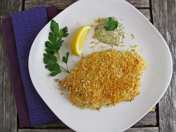 Panko Crusted Fish with Herb Dipping Sauce