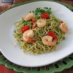 Shrimp and Pea Pesto Pasta
