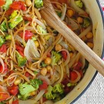 One Pot Tomato Basil and Bean Pasta is a fast weeknight vegetarian meal for the whole family