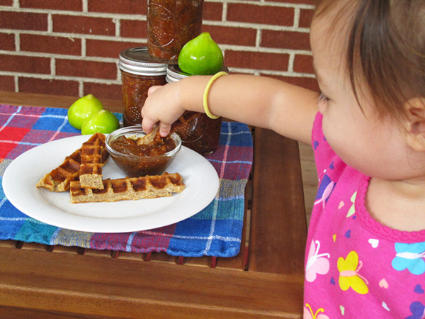 Slow Cooker Fig Preserves are good for Waffle Stick dipping