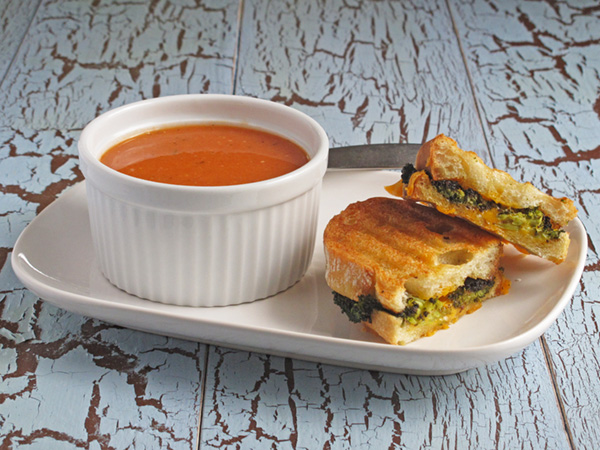 Tomato and White Bean Soup with Roasted Broccoli Grilled Cheese - a match made in heaven!