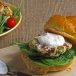 Greek Turkey Burgers with Yogurt Sauce - a low fat but full-flavor spin on the classic burger.