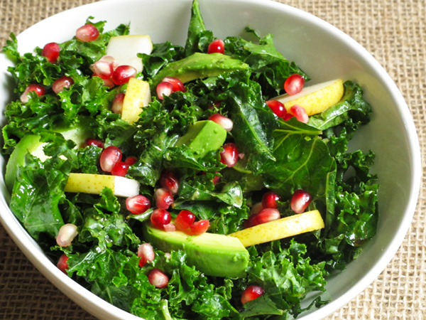 Kale Salad with Pomegranate Pear and Avocado