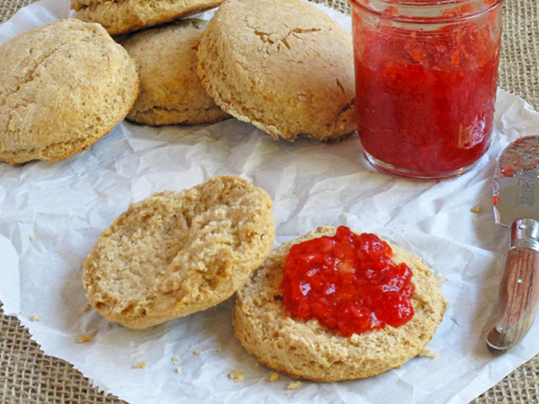 Whole Wheat Biscuits with Lesley's homemade strawberry jam