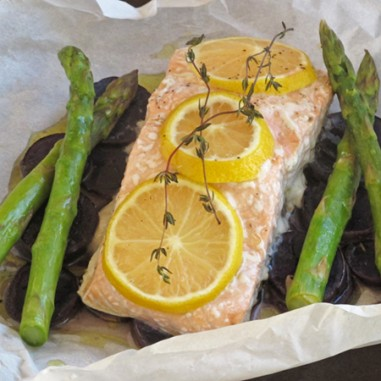 Parchment Salmon with Asparagus and Blue Potatoes