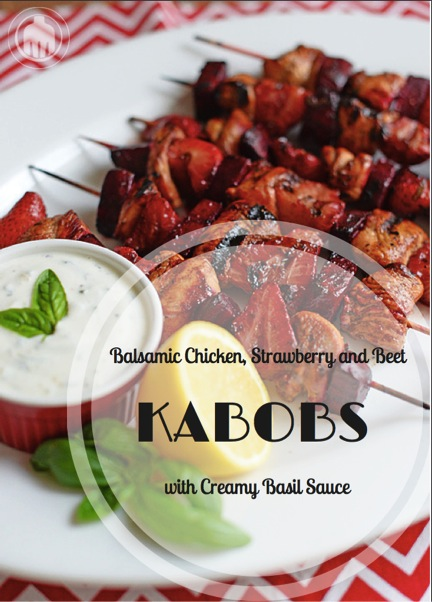 Balsamic Chicken Strawberry and Beet Kabobs perfect for a Memorial Day party or any summer gathering