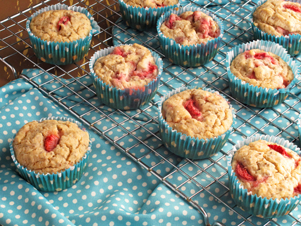 Strawberry Lemon Chia Seed Muffins