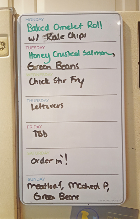 Lesley's weekly menu plan on her refrigerator
