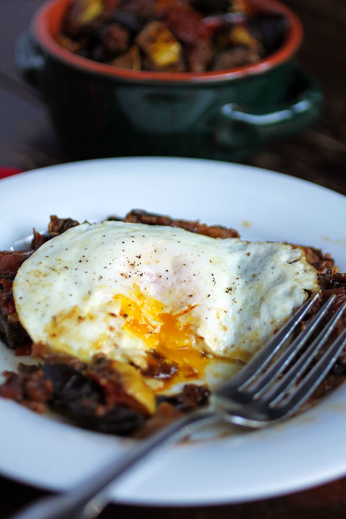 Ratatouille is the ultimate comfort vegetable dish that can easily be made ahead of time. The leftovers are perfect for a quick breakfast with a runny fried egg on top.