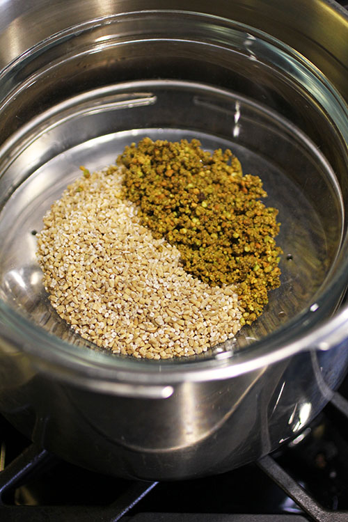 For easier cleaning, put water in bottom of pressure cooker, then the steam insert. Put oats, ground pistachios and water in a heat safe bowl on top of the steamer insert.