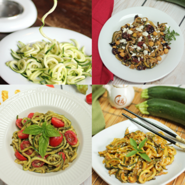 Spiralized zucchini, zucchini noodles or zoodles are easy to make into 3 different flavorful side dishes