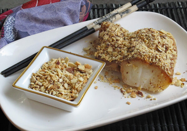 Almond Crusted Cod- packed with flavor from roasted almonds, sesame oil, maple syrup and soy sauce.