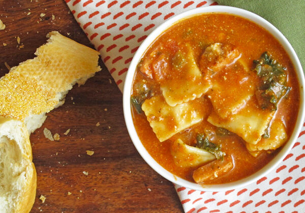 Chicken Sausage and Kale Ravioli Soup - perfect the first night and freezes well for leftovers!