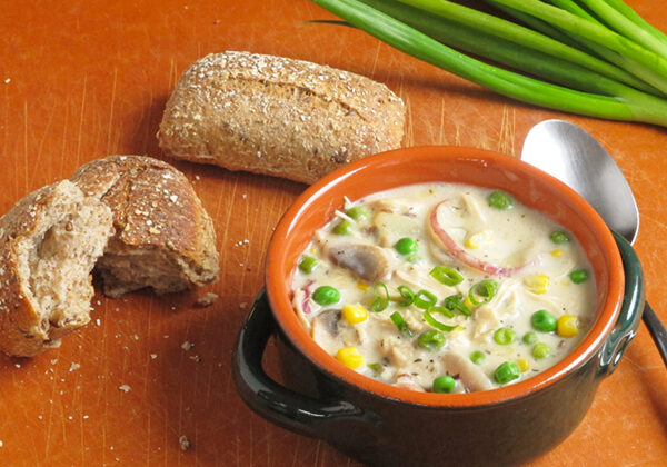 Corn Peas and Chicken Chowder