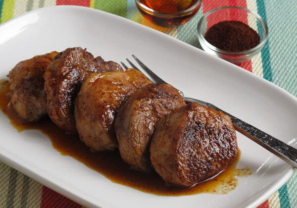 Maple Chili Glazed Pork Medallions - This recipe uses deliciously smoky chili powder to add tons of flavor to a simple pork tenderloin!