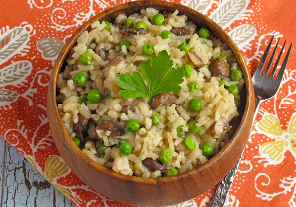 Oven Baked Risotto with Roasted Mushrooms and Beans, peas are optional
