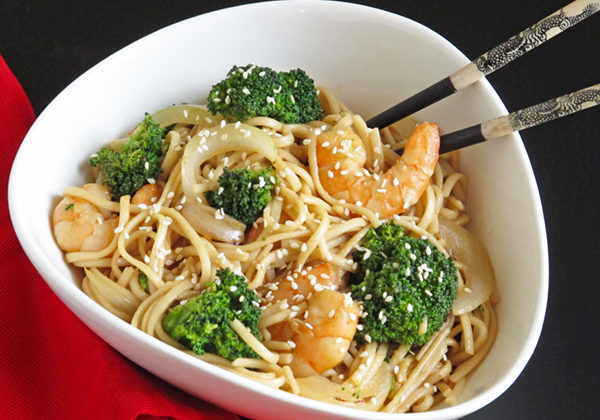 Shrimp & Broccoli Udon Noodles are super fast to make from ingredients you may already have in your kitchen.