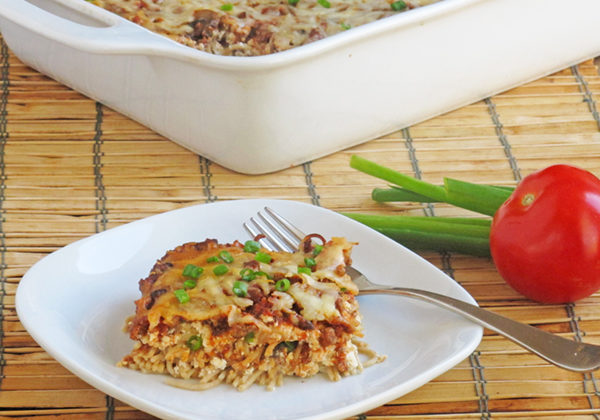 Spring Onion Casserole gets a nutrition boost from mushrooms added to ground beef and tofu replacing cream cheese. It's the perfect family friendly casserole to eat or share with friends.