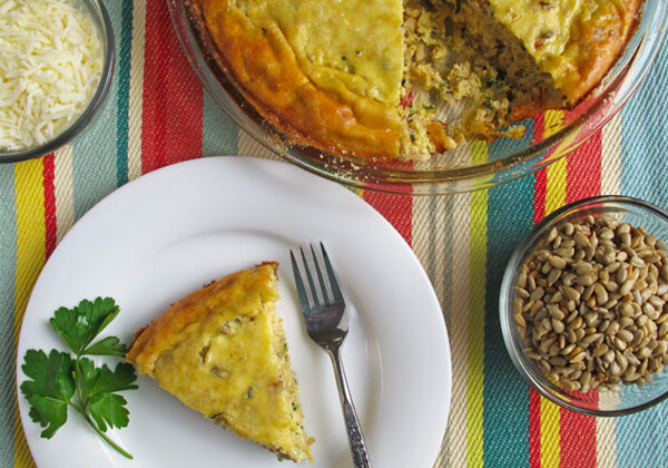 Sunflower Zucchini Pie- a vegetarian dish we love to serve with baked sweet potatoes on the side!