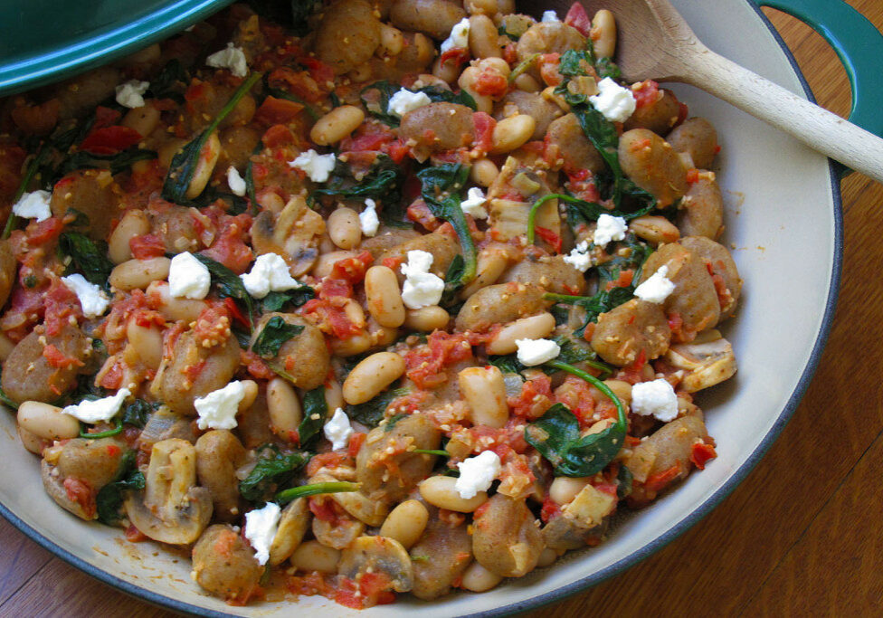 White Bean and Spinach Gnocchi is a fast weeknight vegetarian meal the whole family will love