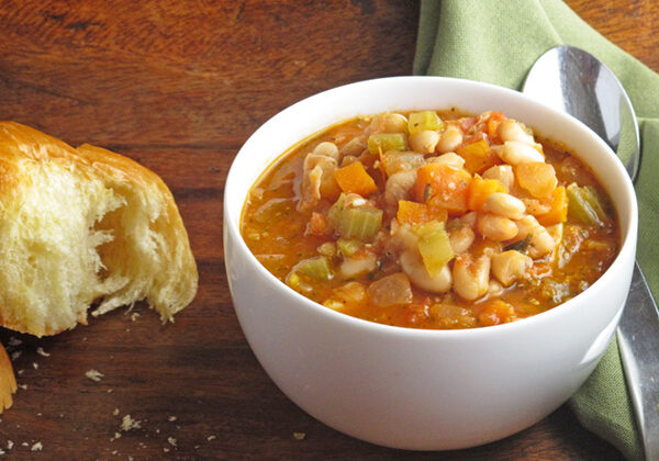 White Bean Tomato Pesto Soup is an easy weeknight meal and perfect for freezing